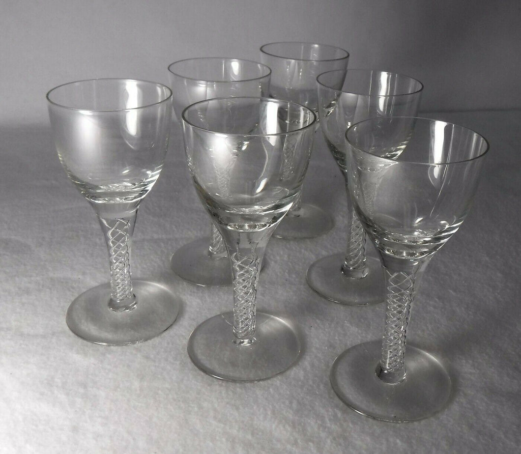 BOHEMIA crystal BELAIRE pattern Set of 6 CORDIAL GLASSES or GOBLETS - 3-7/8