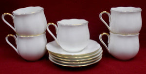 SANGO china TULIP 9101 pattern Set of Five (5) Cups & Saucers - 1 saucer chip