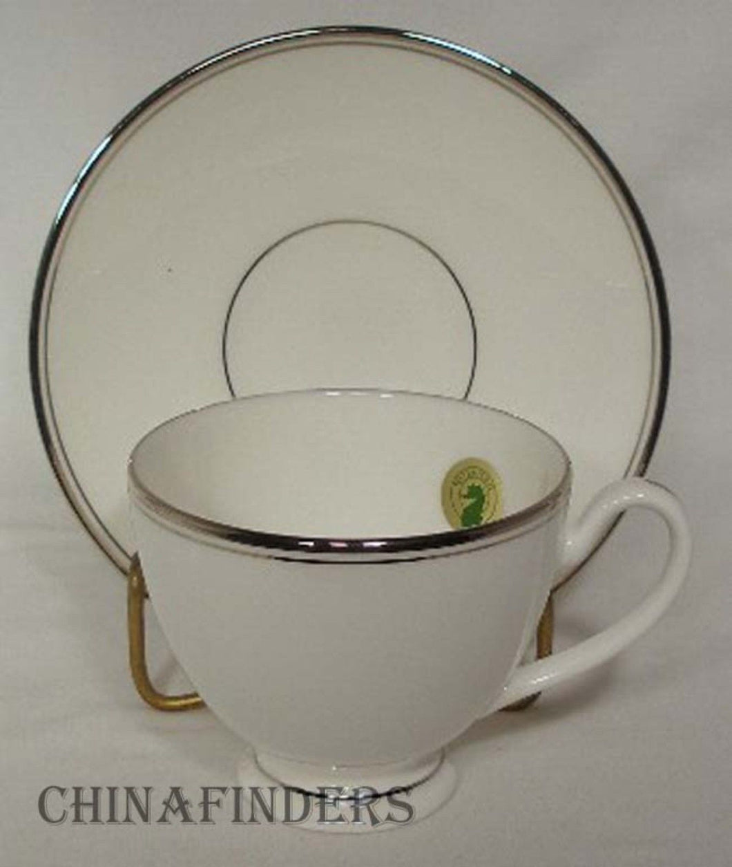 WATERFORD china KILBARRY PLATINUM pattern CUP & SAUCER Set 3