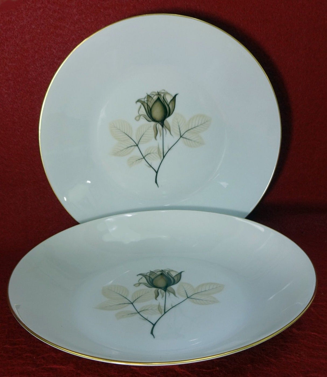 ROSENTHAL china SHADOW ROSE pattern Soup or Salad Bowl - Set of Two (2) - 8-7/8