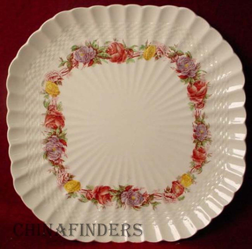 SPODE china ROSE BRIAR 2/7896 pattern SQUARE LUNCHEON PLATE 8-3/4