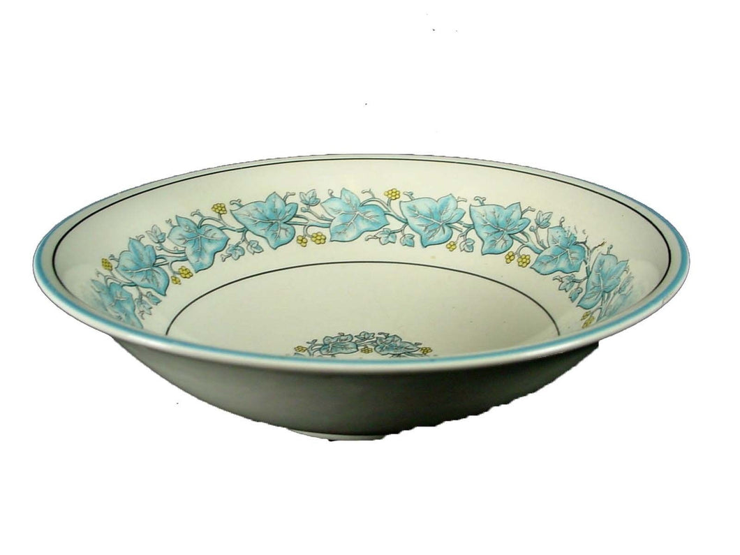 MYOTT Staffordshire China IVY LEAF BLUE pattern COUPE SOUP or CEREAL BOWL 6-1/2