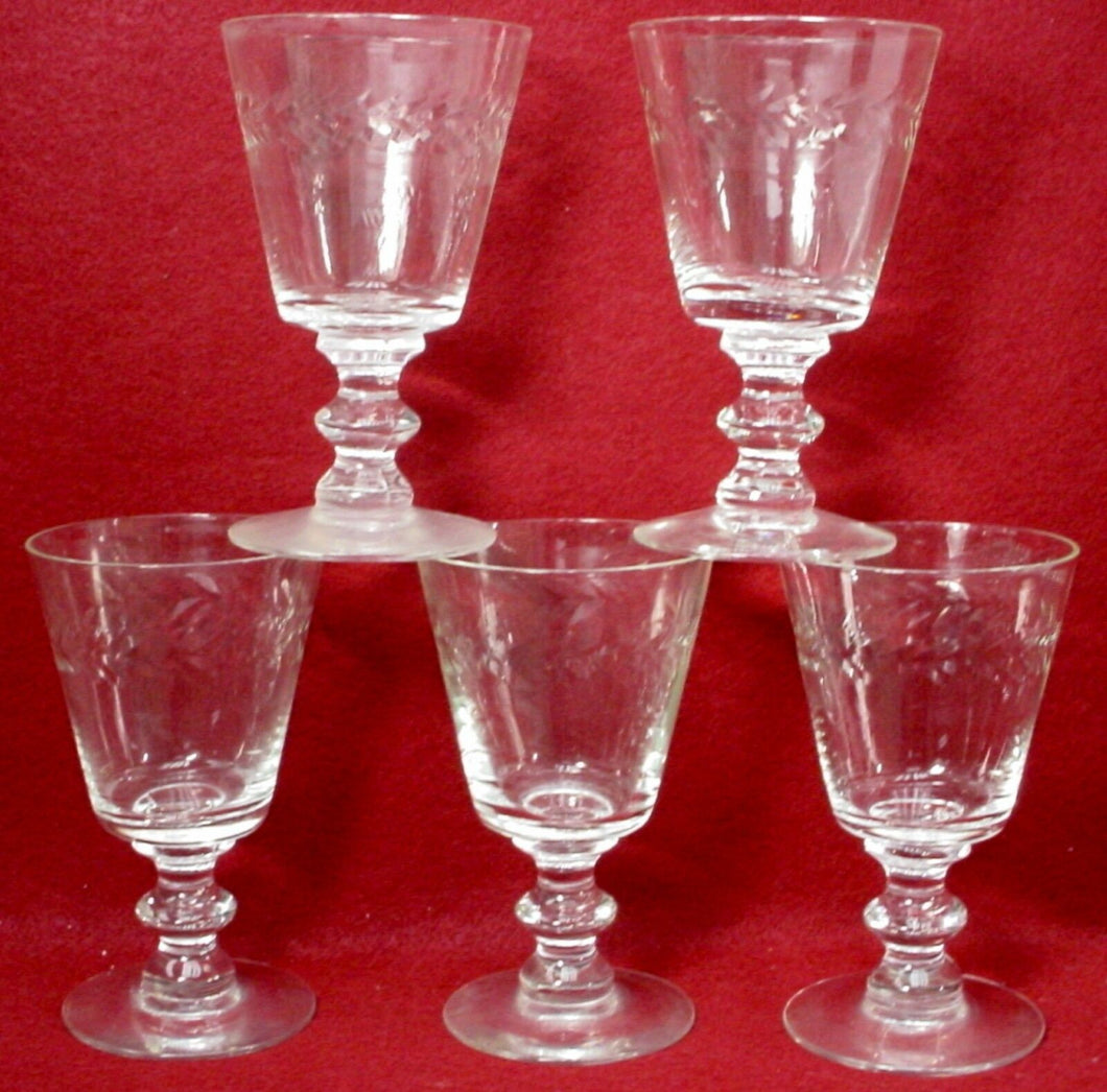 BRYCE crystal WALES LAUREL pattern Set of Five (5) Water Goblets - 5-5/8