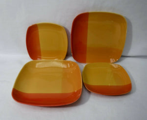 222 FIFTH (PTS) china COLOR BLOCKS yellow-red-orange 2 Salad & 2 Bread Plates