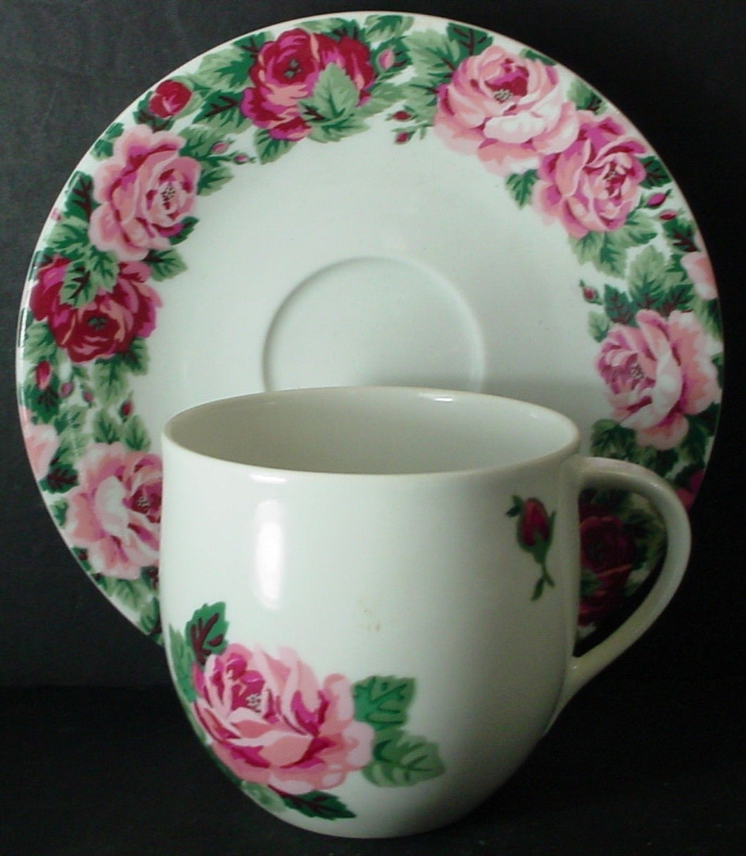 BLOCK china ROSE GARDEN pattern CUP & SAUCER Set Cup 3-1/8