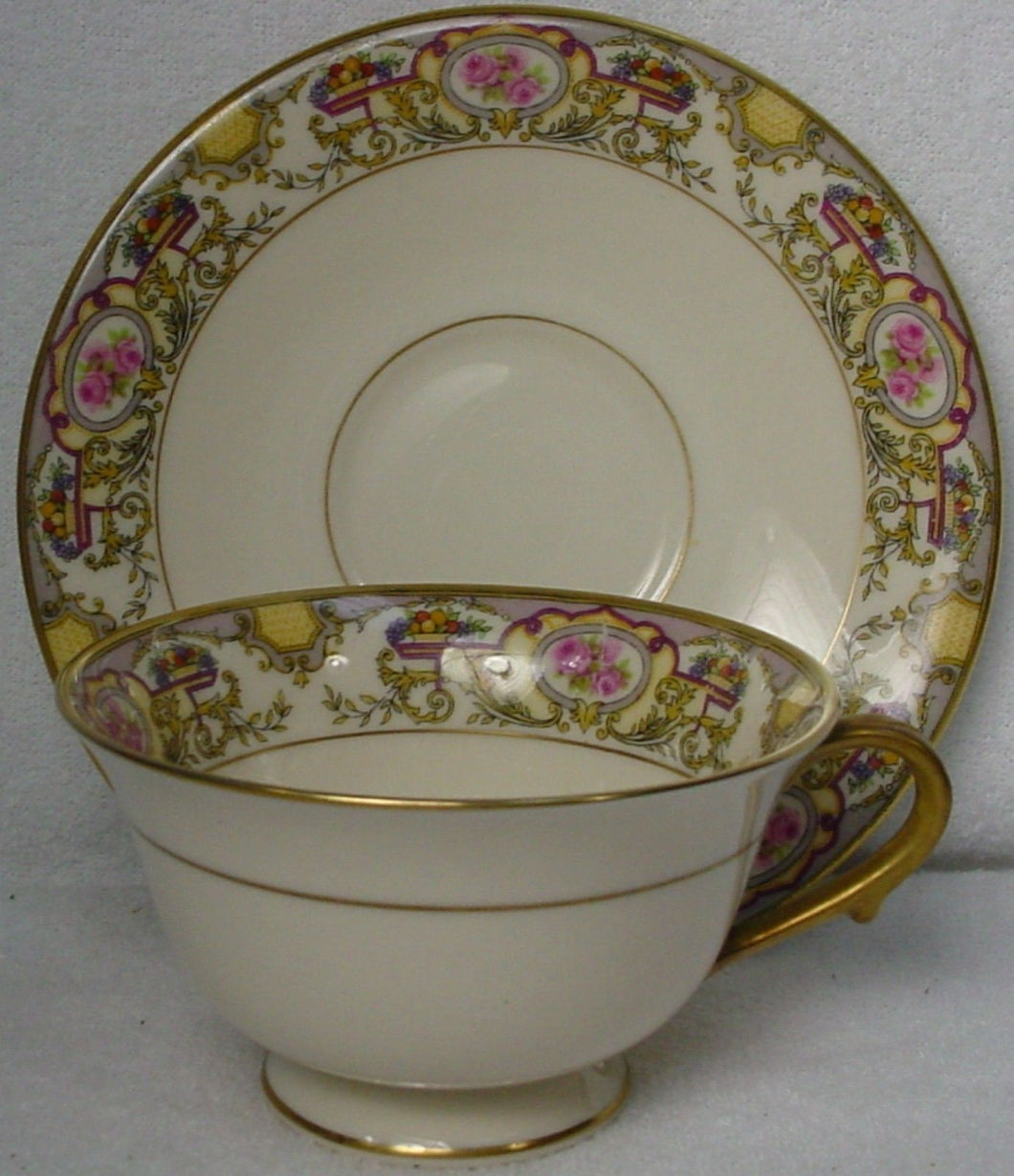 MORGAN BELLEEK china VICTORIA pattern CUP & SAUCER Set Cup 2-1/4