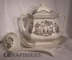 ADAMS china MINUET BLACK pattern Four Piece TUREEN - Lid Ladle Baseplate Tureen