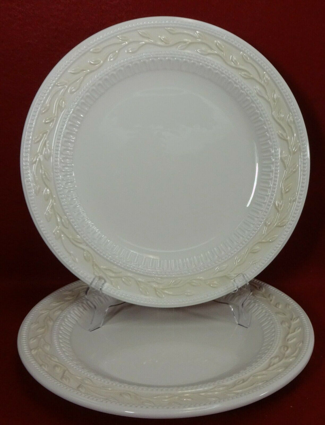 SIGNATURE china LOURDES Set of 2 Round Luncheon, Salad or Dessert Plates 8-7/8