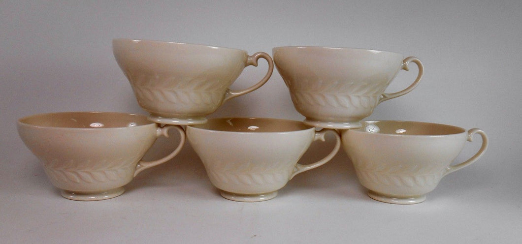 HAVILAND china GREYLOCK White pattern Cup - Set of Five (5) - 2-1/4