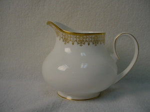 ROYAL DOULTON china GOLD LACE H4989 pattern Creamer, Cream Pitcher or Jug 3-3/4""
