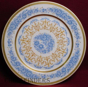 Wm GUERIN china 8932 pattern BLUE FLOWERS Gold Filigree SERVICE PLATE - 11""
