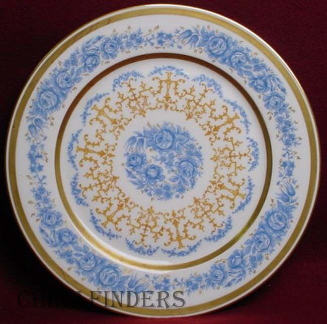Wm GUERIN china 8932 pattern BLUE FLOWERS Gold Filigree SERVICE PLATE - 11
