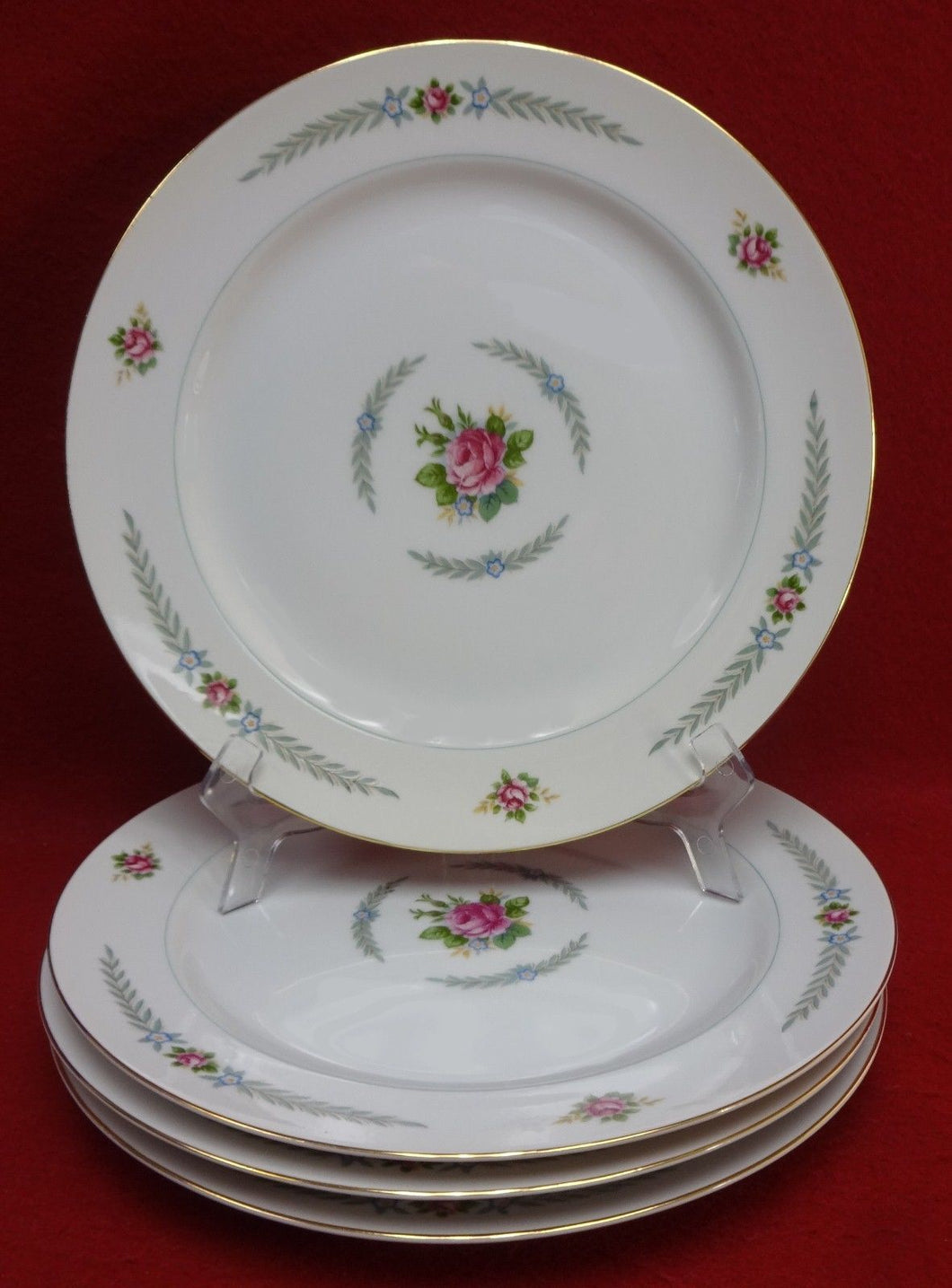 HOLLY china PEACOCK (Narumi Occupied Japan) pattern Set 4 Dinner Plates 10-1/8