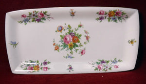 "MINTON china MARLOW S309 Wreath Stamp Rectangular Tray - 11-1/4"" x 5-5/8"""