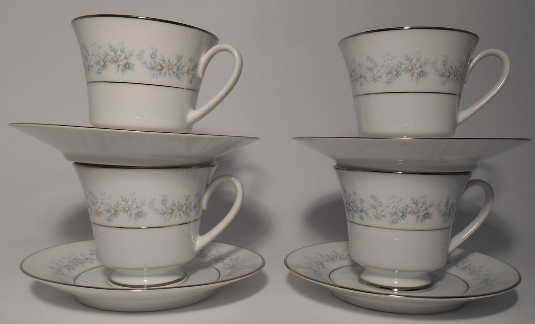 NORITAKE china MARYWOOD 2181 pattern Cup & Saucer - Set of Four (4) @ 3
