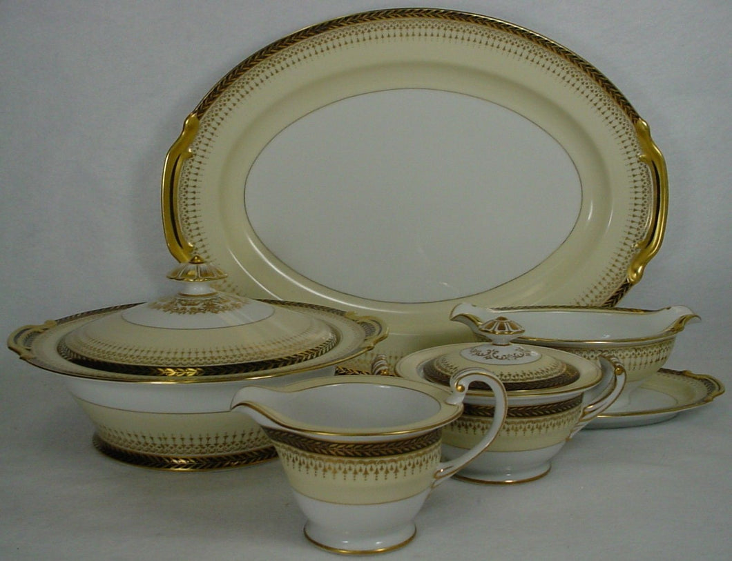 NORITAKE china GOLDBEAM 103006 pattern 7-pc HOSTESS SERVING SET