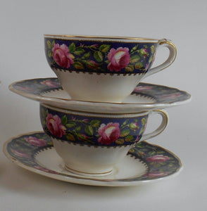 GRINDLEY china CHESTER pattern Set of Two (2) Cups & Saucers