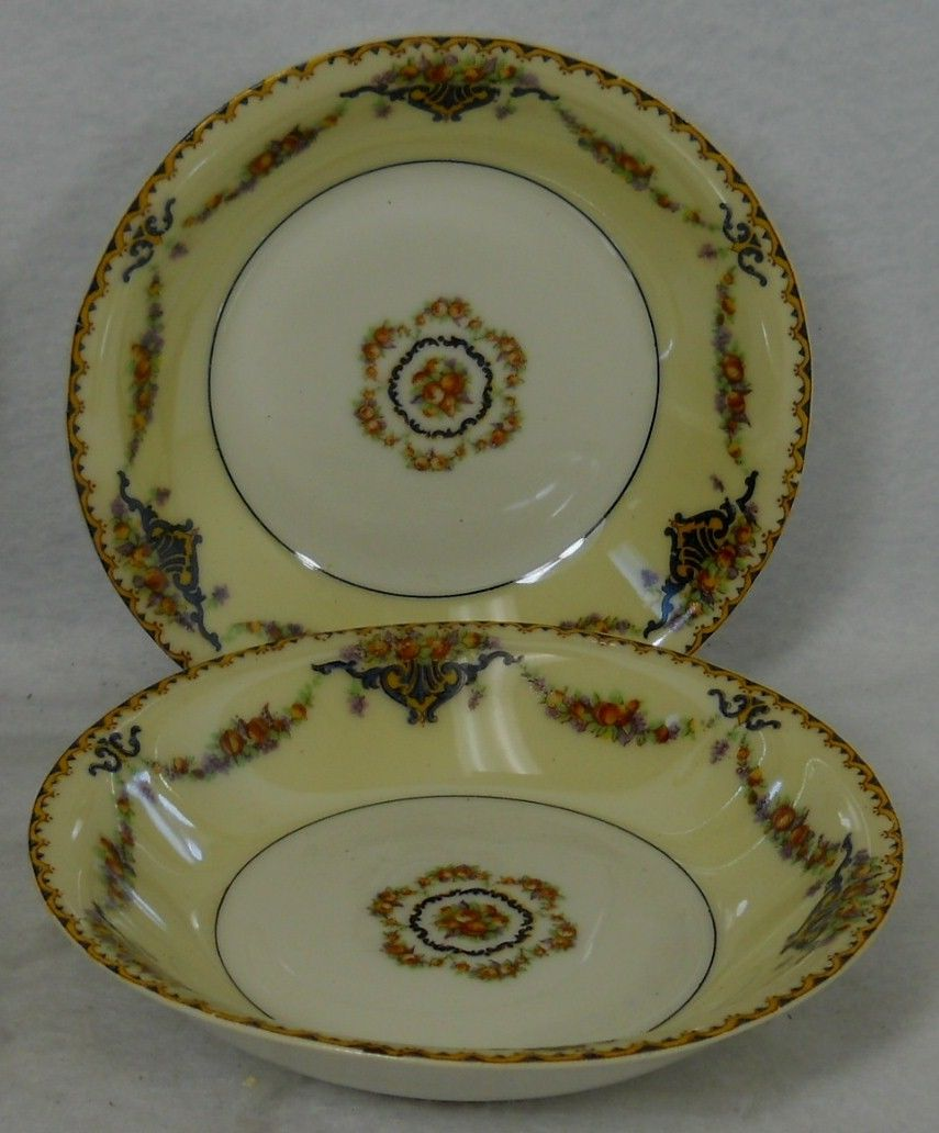 HAVILAND china France POMONA pattern Fruit Dessert Berry Bowl -Set of Two (2) 5