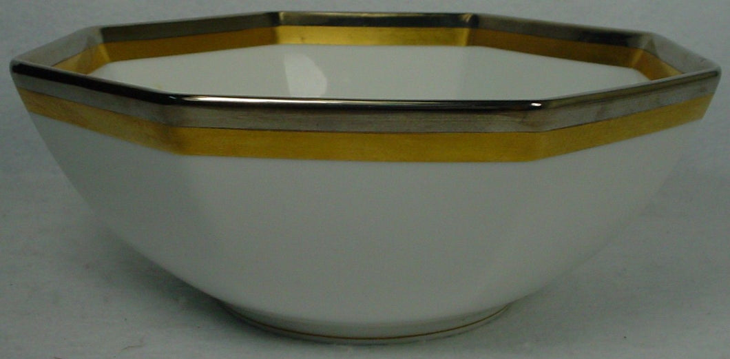 FITZ & FLOYD china PLATINE D'OR pattern Octagonal Vegetable Serving Bowl @8-7/8