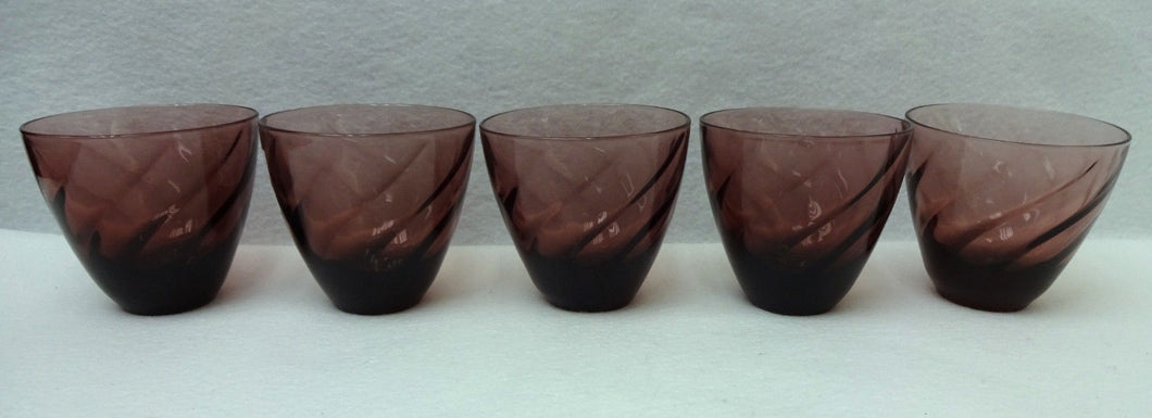 HAZEL ATLAS crystal MOROCCAN AMETHYST pattern Set of 5 Tumblers 8-oz - 3-1/8