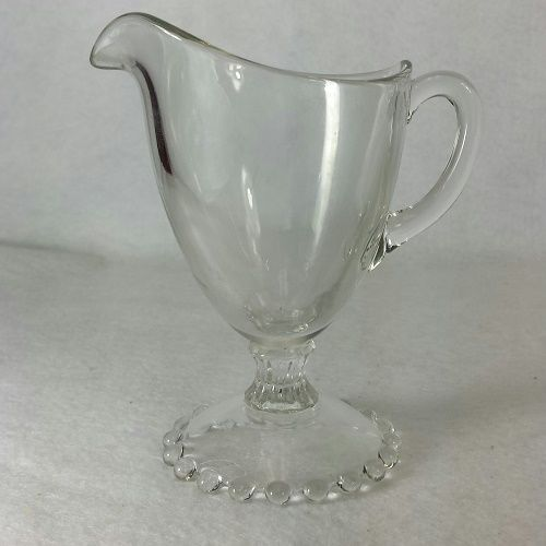 IMPERIAL Crystal CANDLEWICK Footed creamer TALL beaded foot RARE