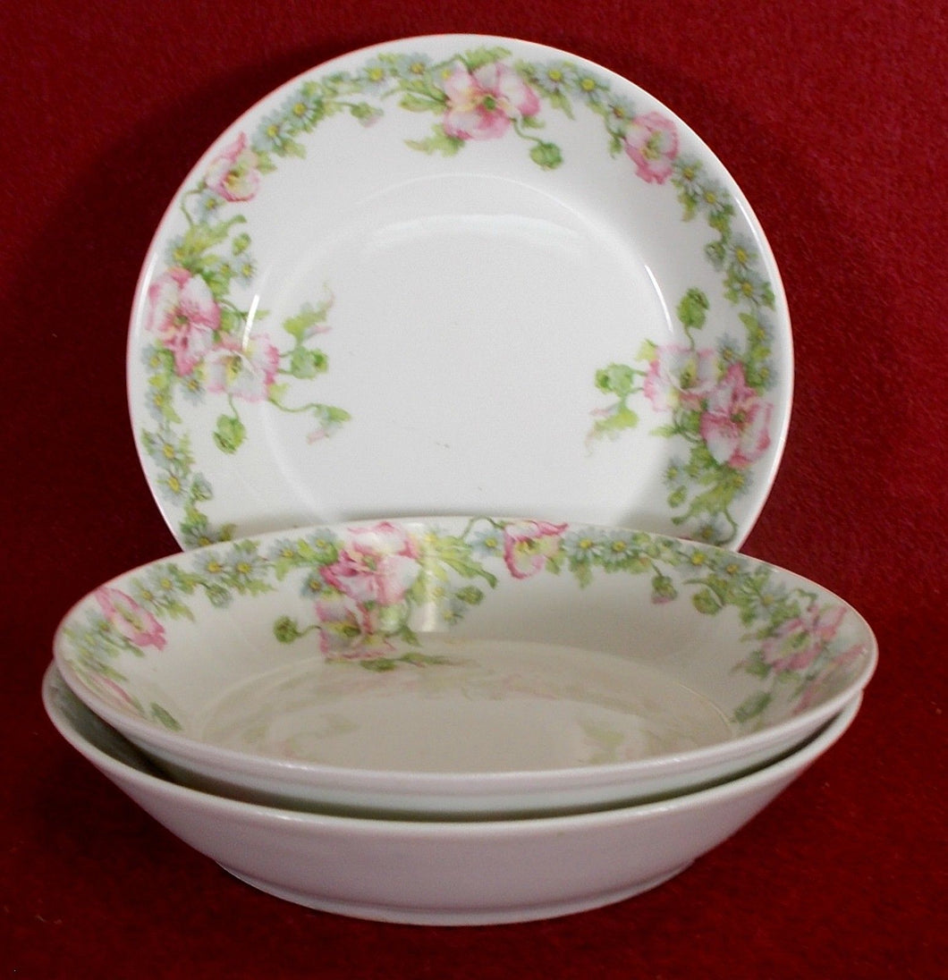 GUERIN, WM Limoges china GUE196 pattern Set of Three (3) Fruit Bowls @ 5