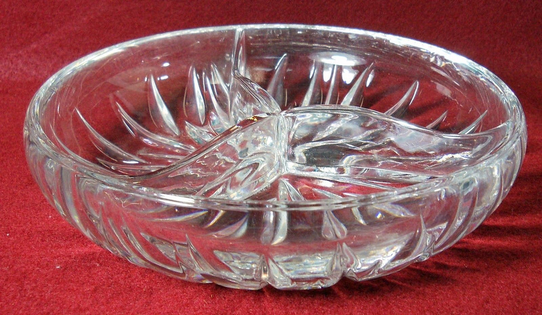 GORHAM crystal STAR BLOSSOM pttrn Round 3-part Divided Relish Dish Bowl - 7-1/2