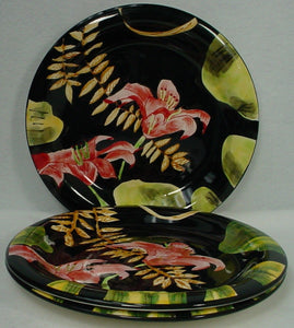 "TOTALLY TODAY china LILY pattern DINNER PLATE 10-7/8"" set of THREE (3)"