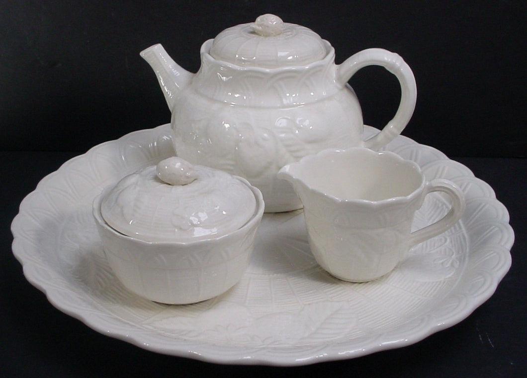 ETHAN ALLEN china Italy ETA2 EMBOSSED FRUIT 11-piece TEA & Cake DESSERT Set