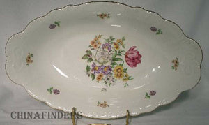 BOHEMIA CERAMIC china BOUQUET Scroll Edge pattern Oval Vegetable Bowl @ 13""