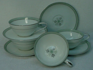 NORITAKE china LUCILLE 5813 pattern Cup & Saucer - Set of Four (4) @ 1-7/8""