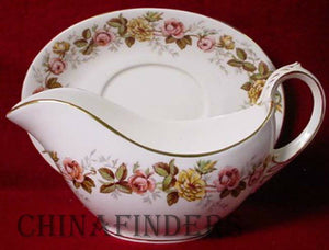 COALPORT china ROSALINDA pattern 2 piece Gravy Boat & Underplate