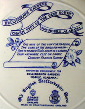 ADAMS china GROTTO BELLINGRATH GARDENS Blue DINNER or DISPLAY PLATE 10""