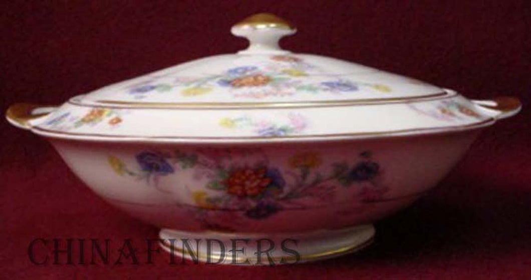 HAVILAND china ORLEANS floral COVERED VEGETABLE Serving BOWL with Handles
