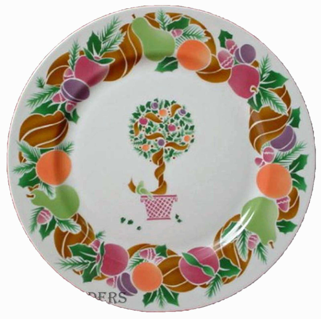 BRIARD china TOPIARY WREATH pattern SALAD PLATE - Set of Four (4) - 7-5/8