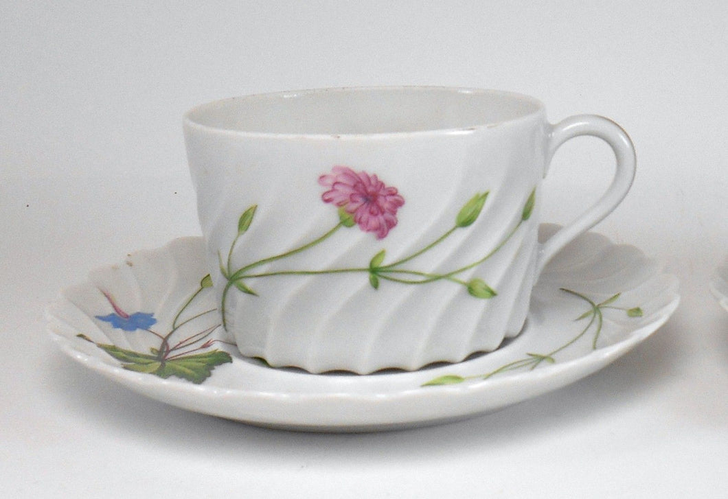 HAVILAND china FLORENCE Swirl Edge Cup & Saucer Set - No Trim - 2-1/8