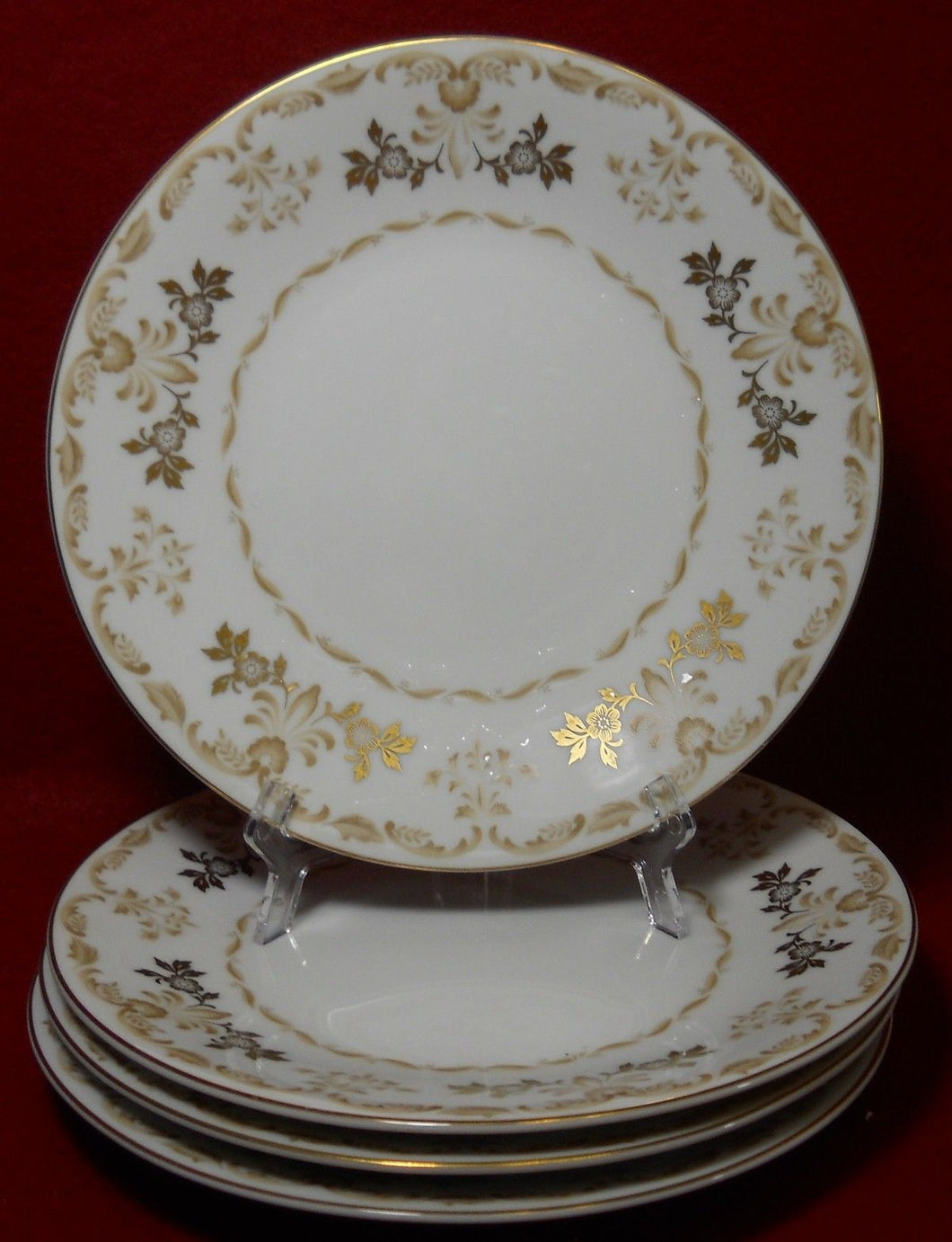 HARMONY HOUSE china CLASSIQUE GOLD pattern Salad Plate - Set of Four (4) 7-3/4