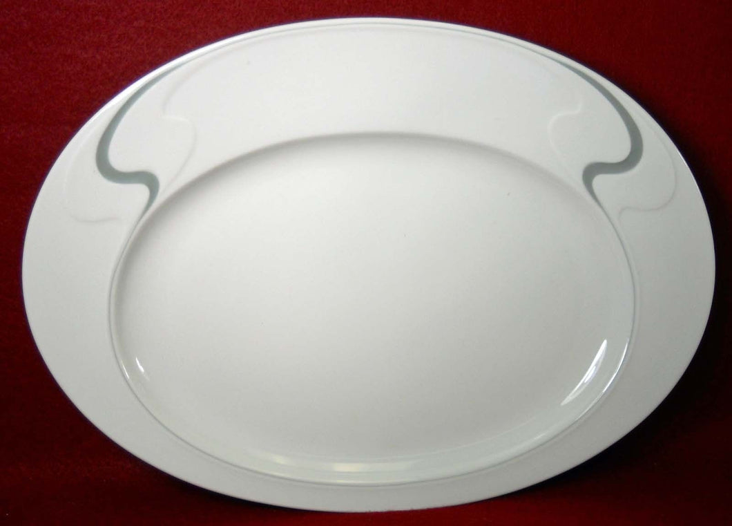 ROSENTHAL china ASYMMETRIA GREY pattern Oval Serving Platter - 13-1/2