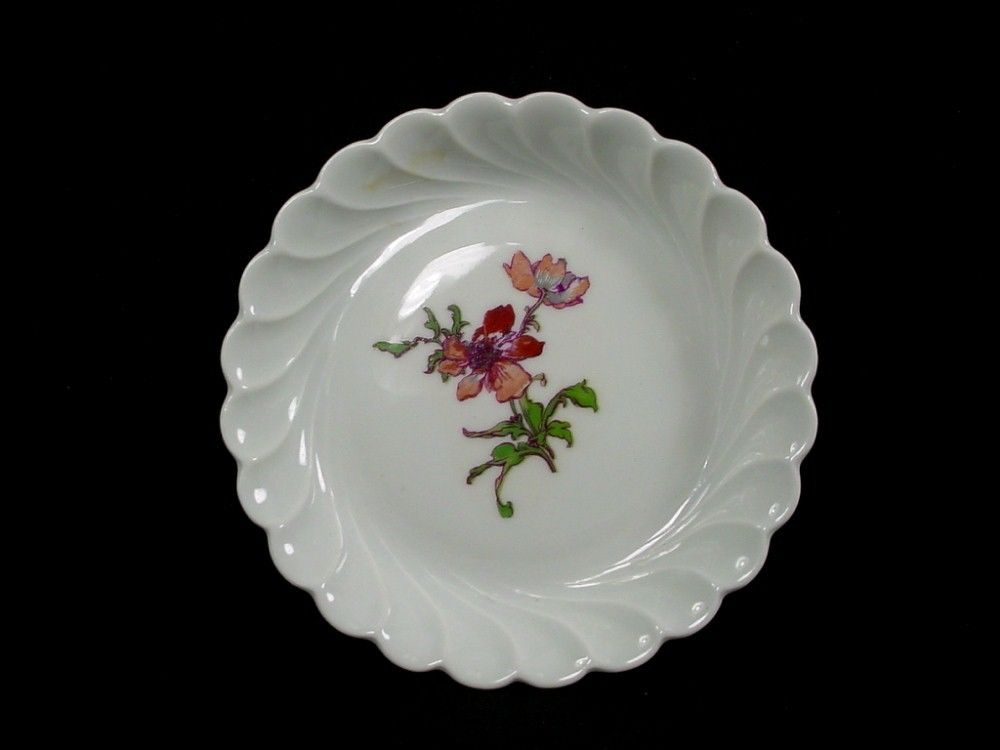 HAVILAND china FLEURS DE SAXE Limoges COASTER Red/Rust 4-3/8