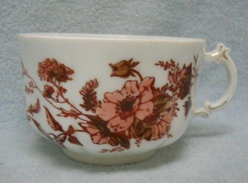 HAVILAND china SCHLEIGER 77 Blank 14 RUST & BROWN FLOWERS pattern CUP Only