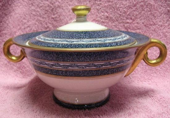 HAVILAND China MOSAIC Cobalt Blue SUGAR BOWL with Lid