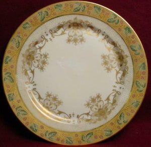 Wm GUERIN china 8952 GOLD FLOWERS Green Leaves pattern SERVICE PLATE - 11""