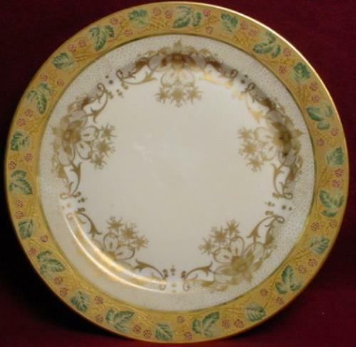 Wm GUERIN china 8952 GOLD FLOWERS Green Leaves pattern SERVICE PLATE - 11