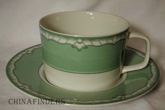 BRIARD china ACCENT Celadon Cup & Saucer Set