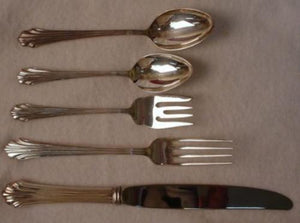 KIRK STIEFF silverplate CLASSIC FLUTES pattern 5-Piece Place Setting