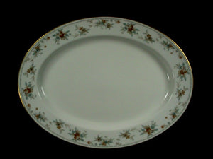 NORITAKE china SECRET LOVE 3481 pattern OVAL MEAT Serving PLATTER 13-5/8""