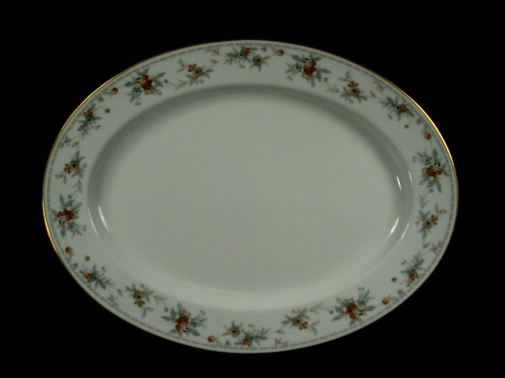NORITAKE china SECRET LOVE 3481 pattern OVAL MEAT Serving PLATTER 13-5/8