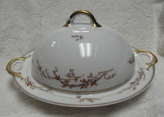 HAVILAND china H327 pattern ROUND BUTTER with STRAINER