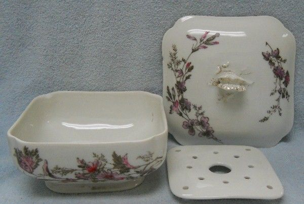 HAVILAND china SCHLEIGER 77 on Blank 14 Pink and GRAY pat SQUARE 3 Pc. BUTTER