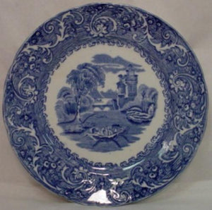 BOURNE & LEIGH china RHINE blue LUNCHEON PLATE - Set of Two (2) - 9-1/4""
